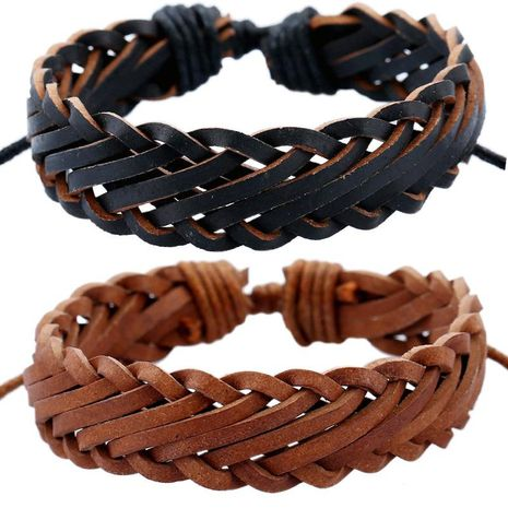 Wholesale retro personality male imitation leather bracelet woven multilayer bracelet NHPK195297's discount tags
