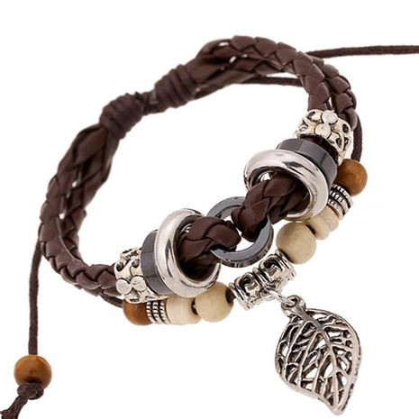 Korean version of imitation cowhide bracelet simple wild alloy leaf pendant woven leather bracelet NHPK195305's discount tags