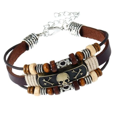 New alloy punk leather bracelet NHPK195306's discount tags