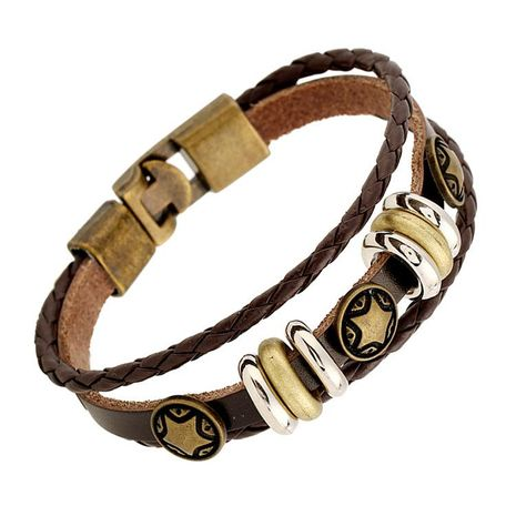 New style buckle leather jewelry retro alloy pentagram woven leather bracelet NHPK195307's discount tags