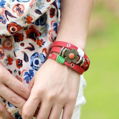 Nouveau bracelet en cuir perlé de style coréen autour de 3 cercles NHPK195308's discount tags