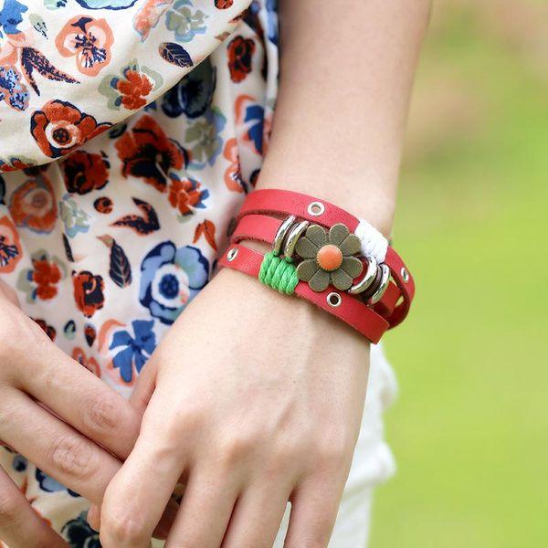 New Korean style beaded leather bracelet around 3 circles NHPK195308