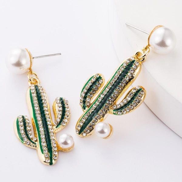 Women's alloy drop earrings with diamonds and pearls NHJE195319