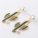 Women39s alloy drop earrings with diamonds and pearls NHJE195319