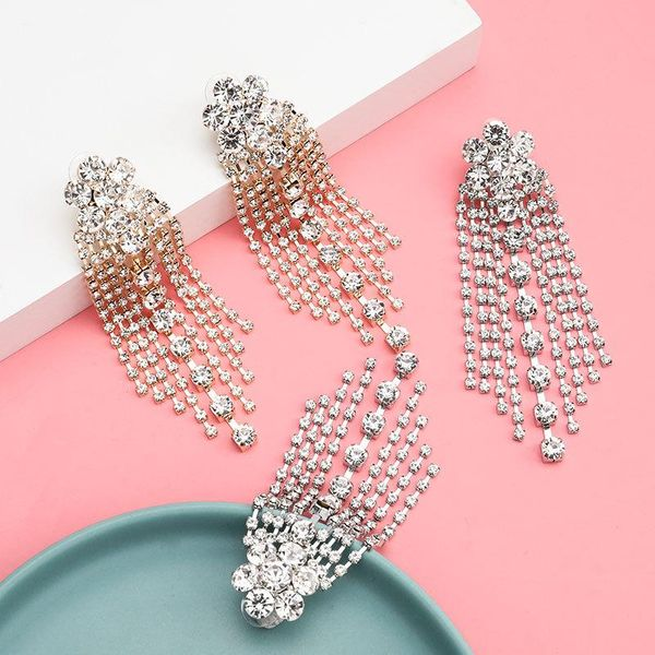 Women's rhinestone floral long fringed earrings NHJE195320