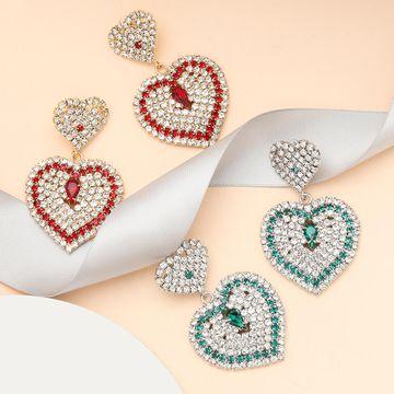 New multi-layer love heart-shaped rhinestone and diamond earrings for women NHJE195331