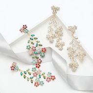 Women's alloy branch rhinestone diamond leaf flower earrings for women NHJE195332