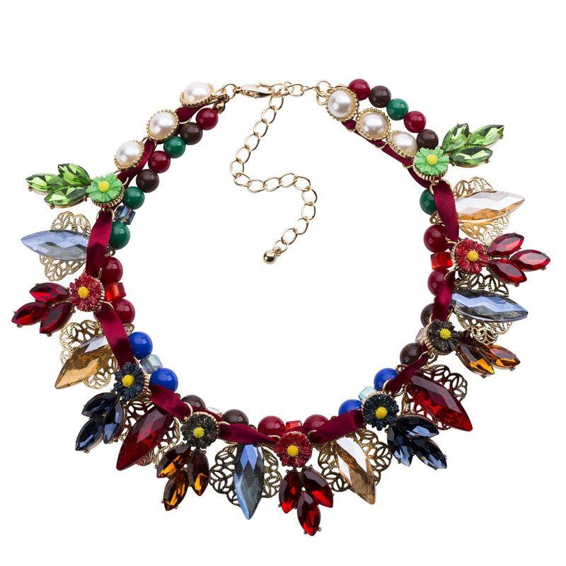 Alloy Flower Necklace Multilayer Woven Women Fashion Boho NHJE195334