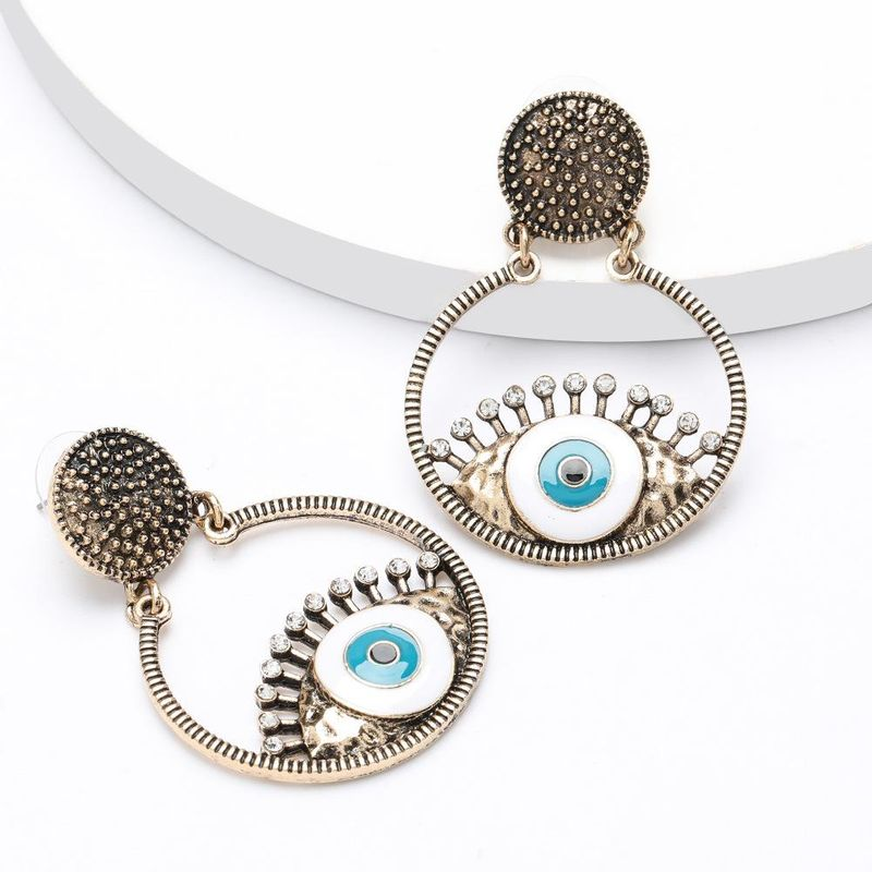 Multi-layer round bump texture alloy diamond drop oil eyes earrings for women NHJE195338