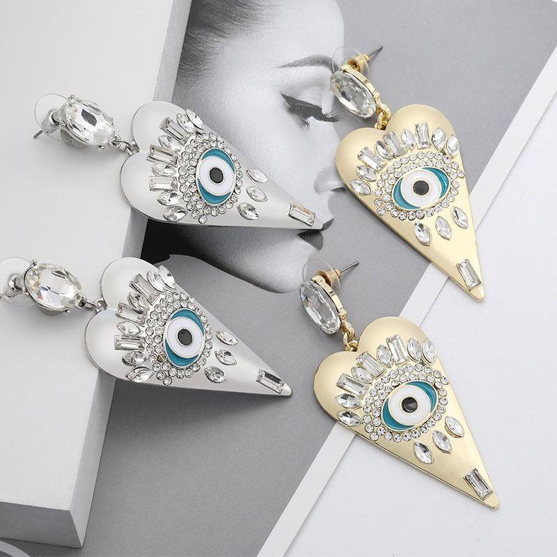 earrings new heart-shaped alloy oil drop diamond earrings NHJE195340