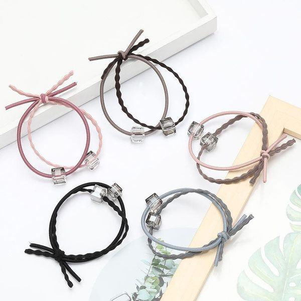 Fashion simple wild double-layer rubber band crystal hair rope women NHJE195341
