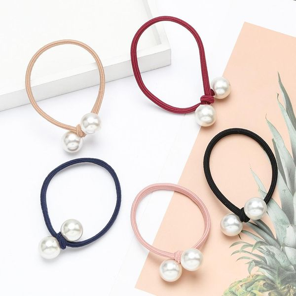 Single layer rubber band imitation pearl hair rope female beam hair ponytail elastic head rope hair accessories NHJE195344