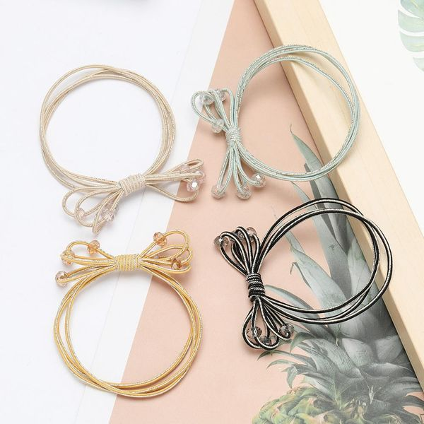 Fashion simple multilayer rubber band crystal elastic hair rope wholesale NHJE195346