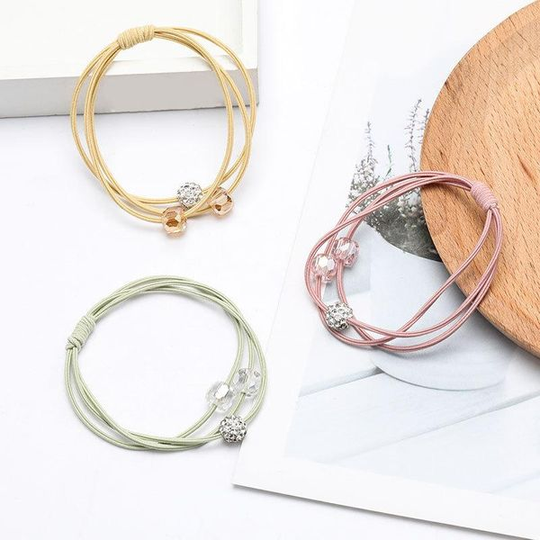 Autumn and winter new rhinestone diamond crystal elastic rubber band hair rope women NHJE195347