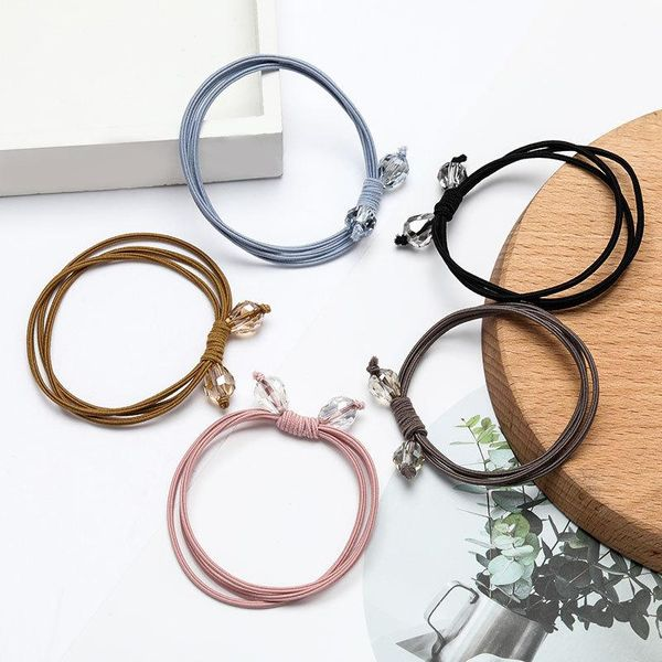 Korean fashion simple multi-layer elastic rubber band double crystal hair rope women NHJE195348
