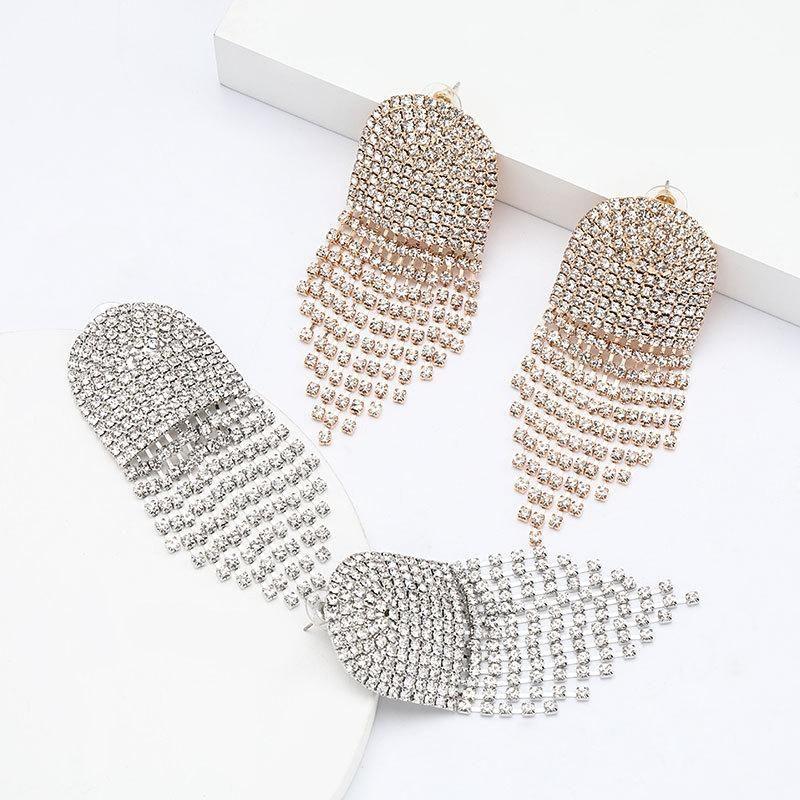 Arched convex alloy rhinestone diamond tassels earrings female fashion dinner claw chain earrings NHJE195350