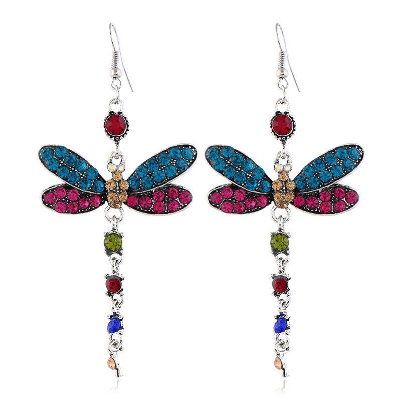 Fashion metal flash diamond dragonfly temperament earrings NHSC194589
