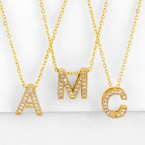 New Accessories Letter Necklace Diamond Letter Pendant Couple Necklace NHAS195355's discount tags