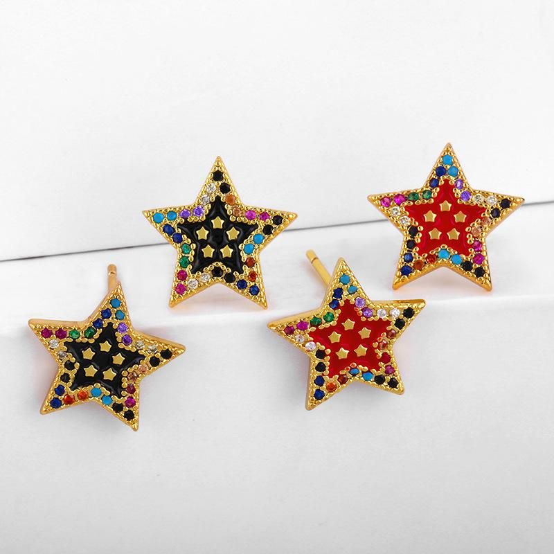 Valentines Day Inlaid Diamond Pentagram Stud Earrings Female Zircon Ear Studs NHAS195359