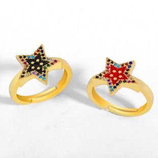 Creative European and American five-pointed star open ring dripping diamond ring NHAS195362's discount tags