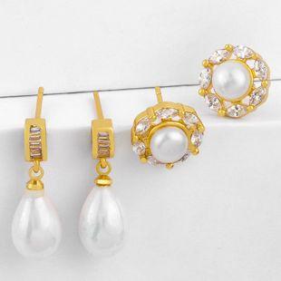 Aretes de perlas lindas de Corea Pendientes de perlas de gota de agua al por mayor NHAS195364's discount tags