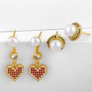 Corea Nuevos aretes de perlas Pendientes de diamantes de corazón de durazno Joyería de moda al por mayor NHAS195366's discount tags