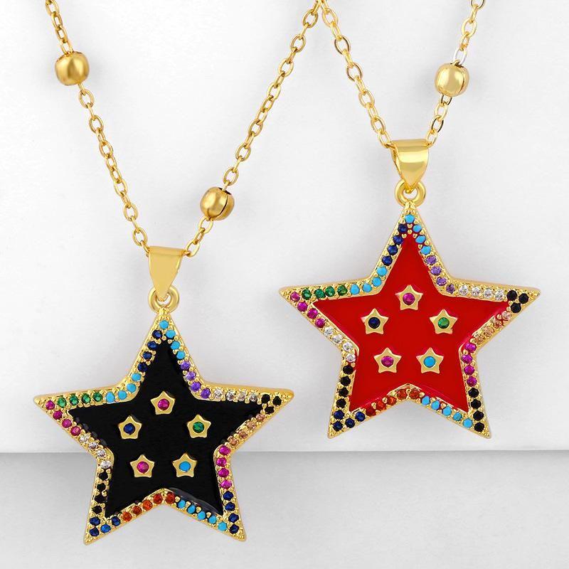 New couple necklace hot sale pentagram oil drop diamond pendant wholesale NHAS195367