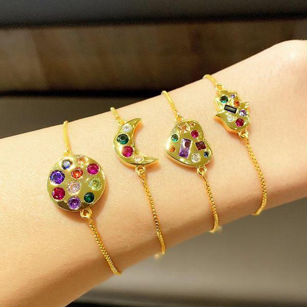 pulsera pulsera ajustable micro incrustaciones colorido circón melocotón corazón amor luna pulsera NHAS195375