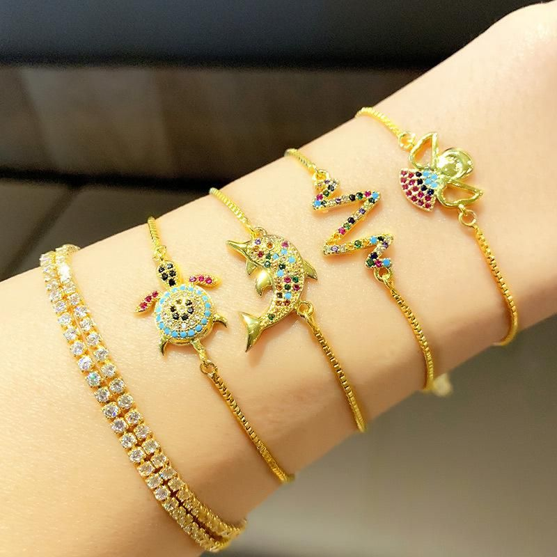 Jewelry bracelet micro inlaid zircon bracelet turtle dolphin bracelet NHAS195379