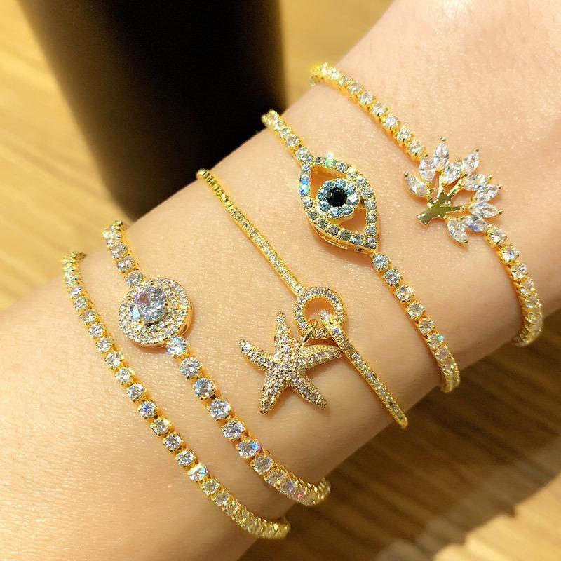 Fashion zircon crystal pull bracelet female starfish bracelet adjustable bracelet NHAS195380