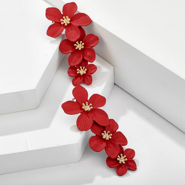 New Bohemian Irregular Red Flower Earrings Wild Flower Long Earrings NHGY195383