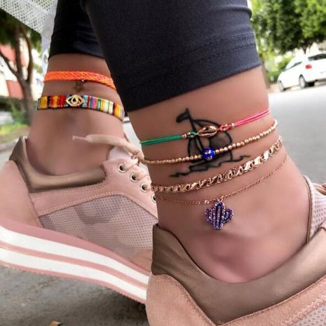 New Simple Blue Cactus Anklet Set Gold Bead Shell Anklet Set Wholesale NHGY195388's discount tags