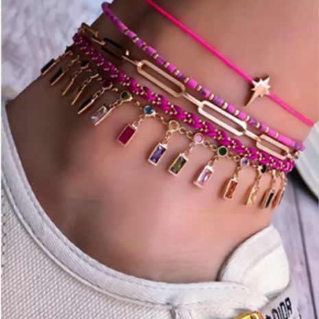 Bracelet de cheville multicouche avec pieds en diamant orné de perles de bohème NHGY195394's discount tags