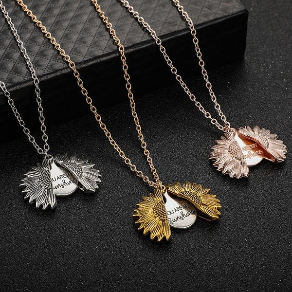 New flower shaped necklace sunflower double lettering necklace alloy flowers clavicle chain NHGY195397