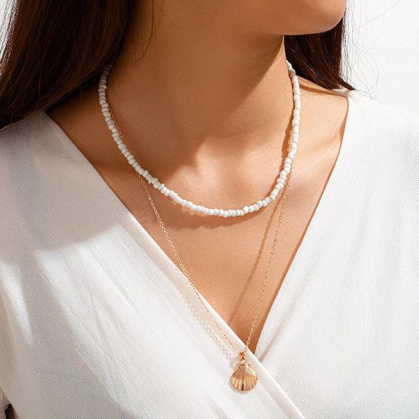 New paragraph decorated rice beads scallop multilayer necklace neck chain shell long necklace NHGY195398