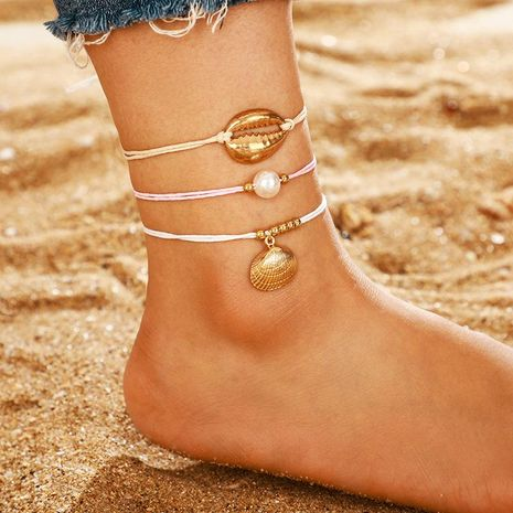 Popular accessories Bohemian pearl gold shell line rope anklet set NHGY195399's discount tags