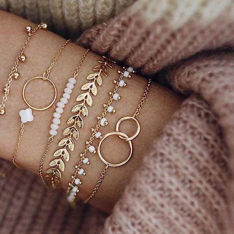 Nuevo conjunto de brazalete de pulsera de círculo simple flor flecha hoja NHGY195400's discount tags