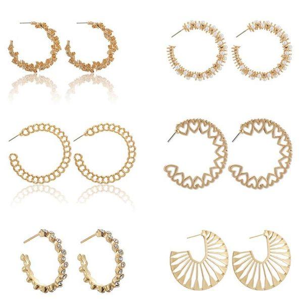 New Large Circle Earrings Fashion Cannabis Flower Round Open Earrings Stud Earrings NHGY195403