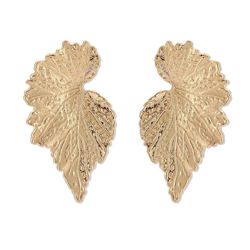 Nuevos pendientes retro pendientes de pan de oro pendientes de hoja NHGY195405
