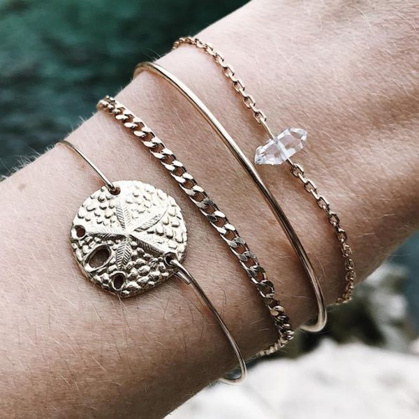 New hand jewelry simple alloy disc carved starfish bracelet set NHGY195406