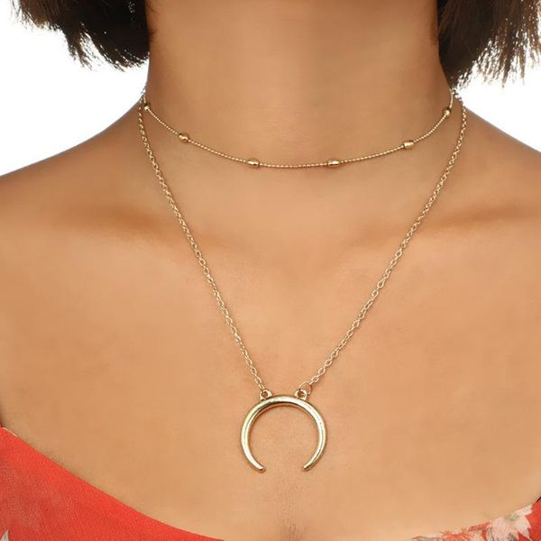 Retro fashion round bead alloy necklace moon pendant double necklace clavicle chain NHGY195409