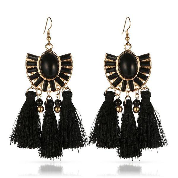 Vintage fan-shaped geometric earrings bohemian black sapphire geometric tassel earrings women NHGY195411