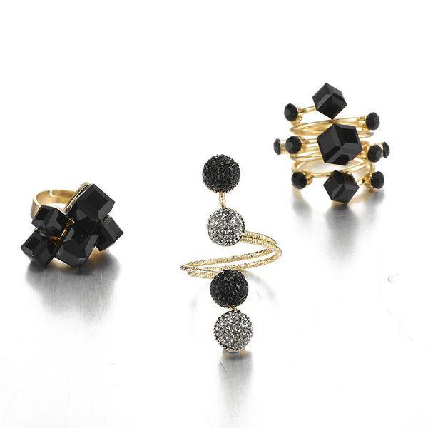 Nuevos accesorios retro resina geométrica viento helado anillo cuadrado negro al por mayor NHGY195417