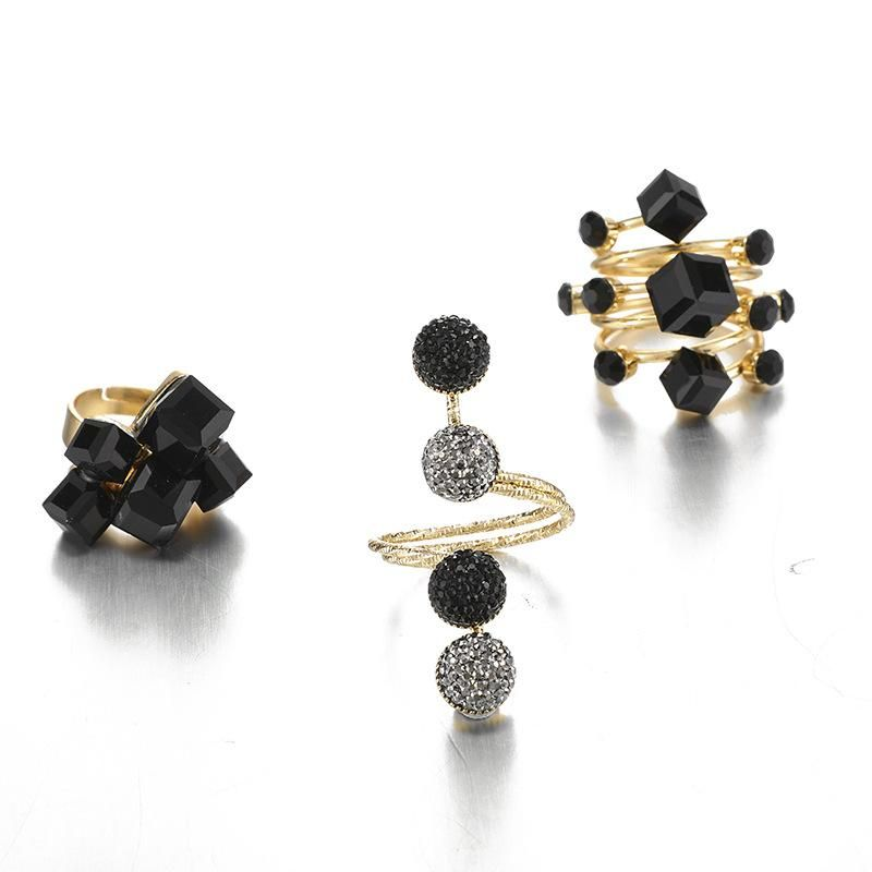 New accessories retro geometric resin frosty wind black square ring wholesale NHGY195417