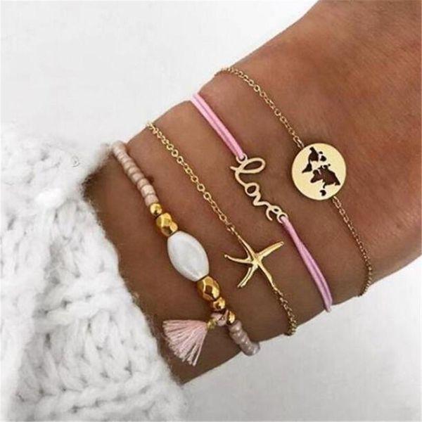 New jewelry fashion letters LOVE starfish map Mizhu fringed bracelet NHGY195419