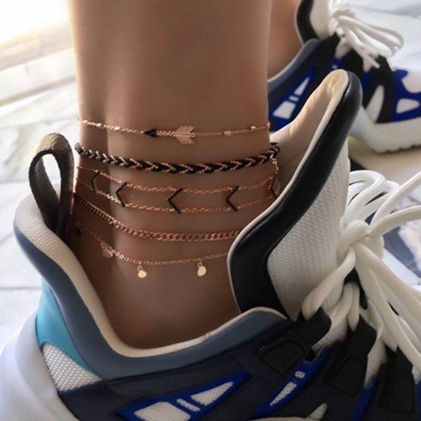 New Fashion Jewelry Bohemia Disc Triangle Arrow Anklet Set NHGY195421