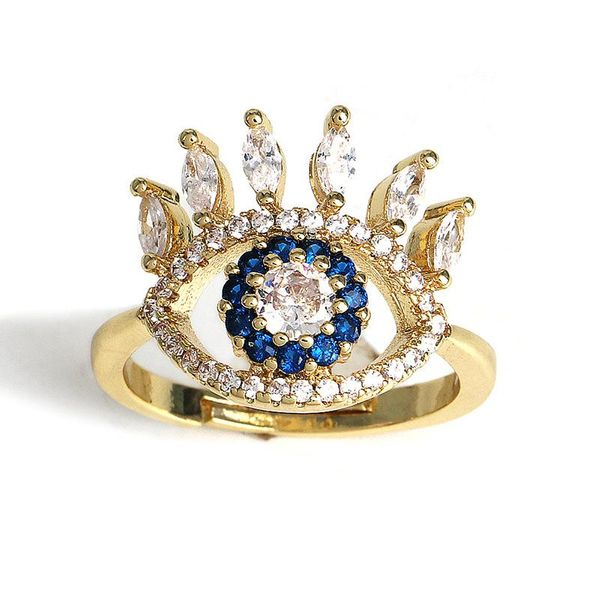 Devil Eye Micro-Set Diamond Ring Anillo coreano exagerado al por mayor NHJJ195422
