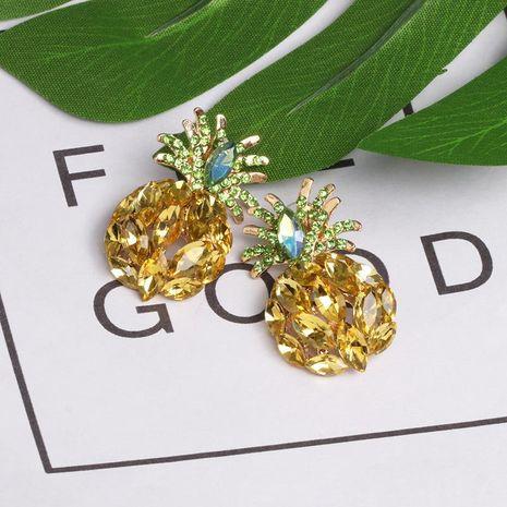 New jewelry rhinestone crystal pineapple earrings fruit earrings NHJJ195433's discount tags