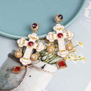 fashion cross diamond earrings retro catwalk oil drop earrings NHJJ195435's discount tags