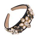 Wideedge pearl hair hoop light luxury retro hair accessories drip oil glass drilled hair hoop NHMD195447